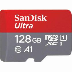 Карта памяти microSDHC 128Gb SanDisk, Ultra Android, Class10, UHS-I 80Mb/s, с адаптером