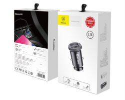 Блок питания автомобильный 2 USB Baseus C8-K Grain 3100mA пластик чёрный