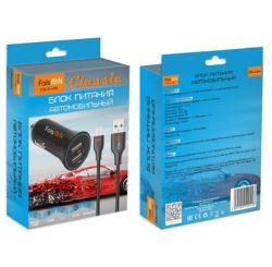 Блок питания автомобильный 2 USB FaisON FS-Z-415 3400mA пластик кабель микро USB чёрный