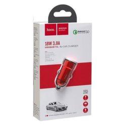 Блок питания автомобильный 2 USB HOCO Z32 Speed Up 3000mA металл QC3.0 красный